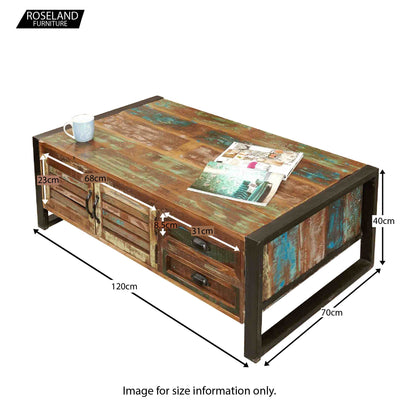 Urban Chic Large Coffee Table with Storage - Size Guide