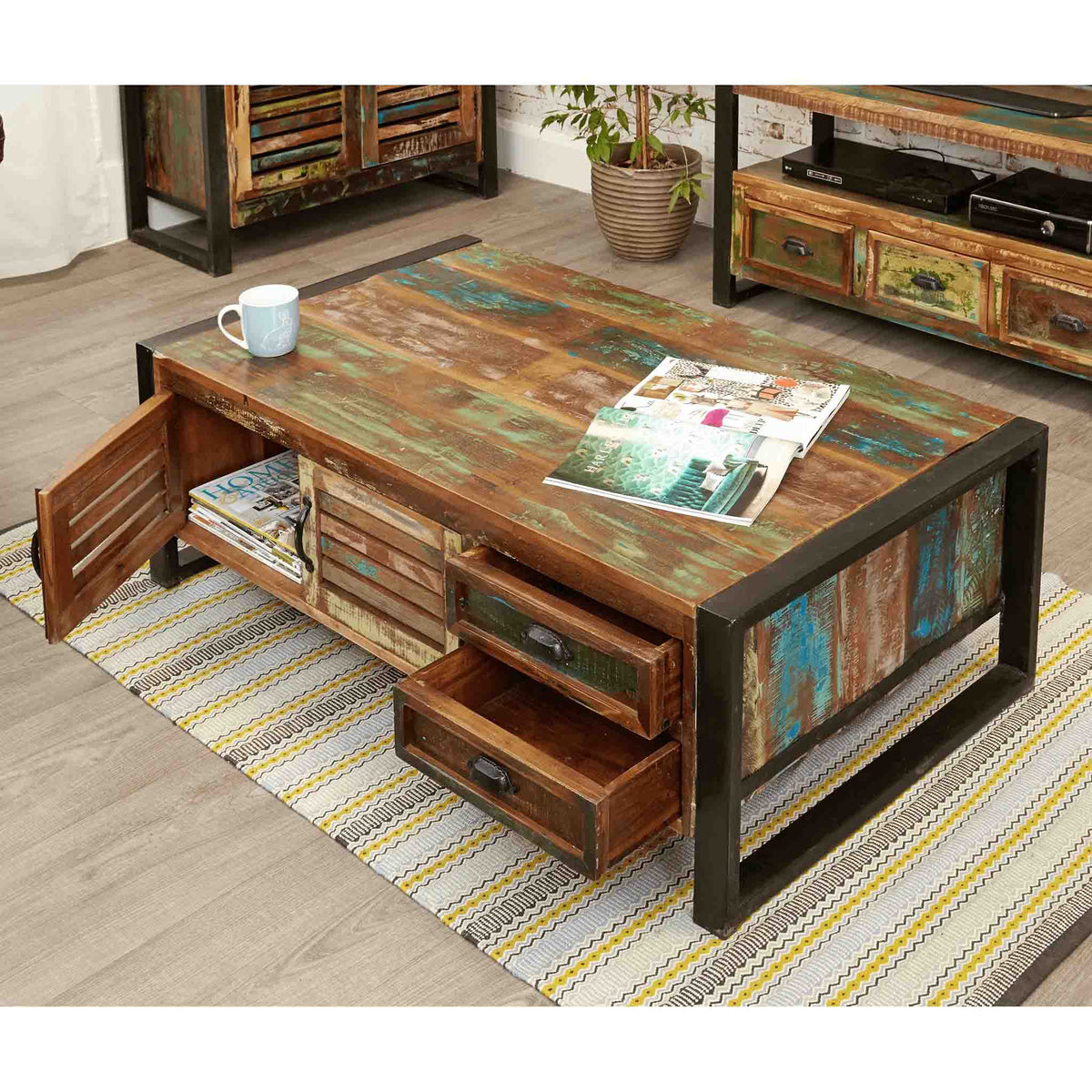 Opened drawer view of The Urban Chic Industrial Reclaimed Wood Large Coffee Table with Storage