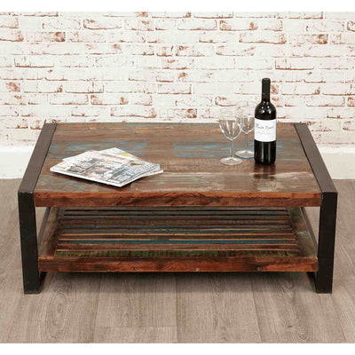 The Urban Chic Industrial Reclaimed Wood Large Rectangular Coffee Table with Steel Frame