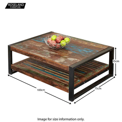 Urban Chic Large Rectangular Coffee Table - Size Guide