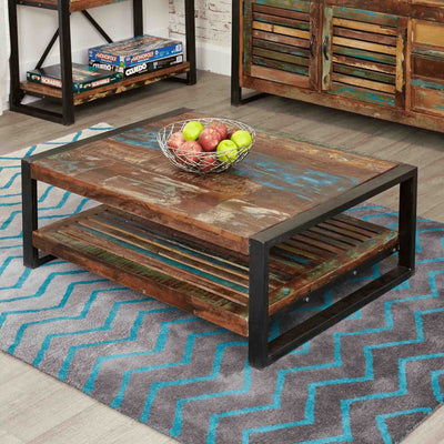 The Urban Chic Industrial Reclaimed Wood Large Rectangular Coffee Table from Roseland Furniture