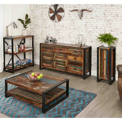 Lifestyle image of The Urban Chic Industrial Reclaimed Wood Large Rectangular Coffee Table