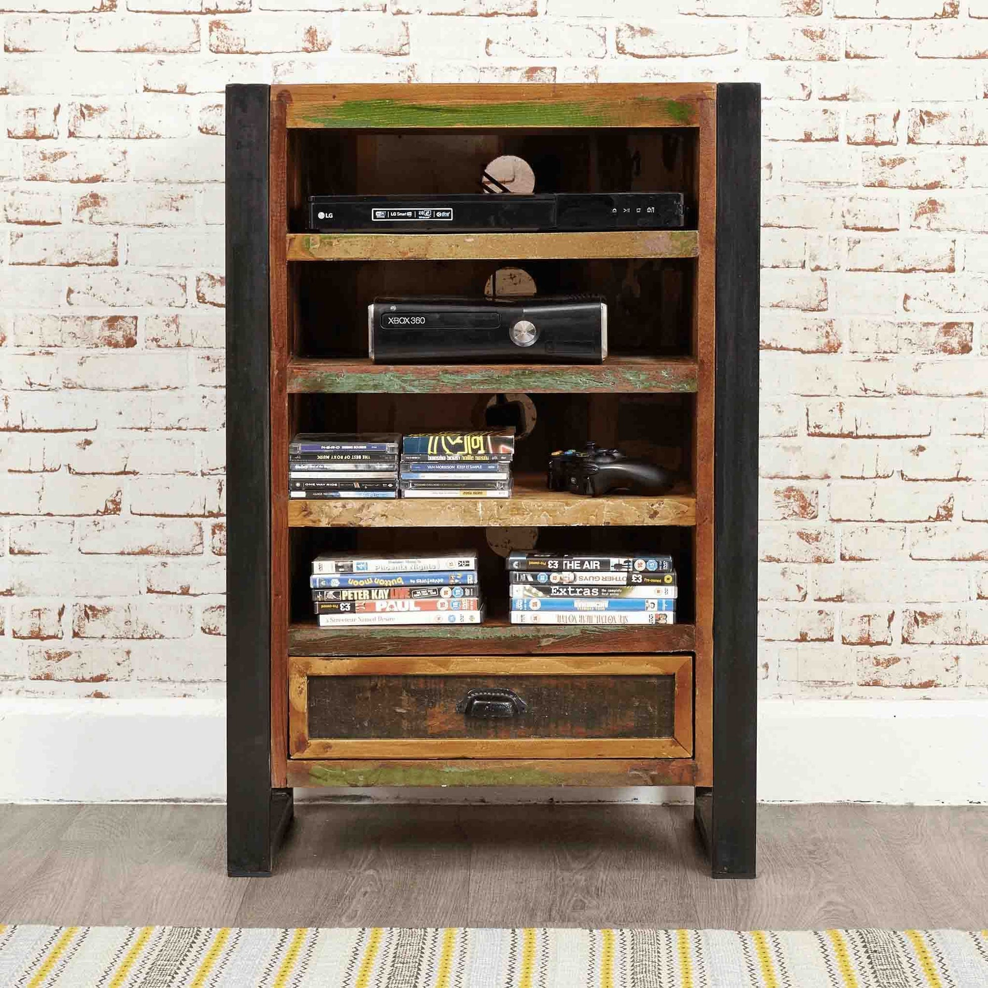 The Urban Chic Industrial Reclaimed Wood Entertainment Cabinet from Roseland Furniture