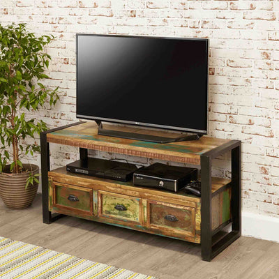 The Urban Chic Industrial Reclaimed Wood TV Stand Storage Unit from Roseland Furniture
