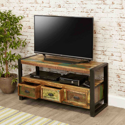 The Urban Chic Industrial Reclaimed Wood TV Unit Storage Cabinet from Roseland Furniture