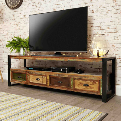 The Urban Chic Industrial Reclaimed Wood Extra Large TV Stand from Roseland Furniture