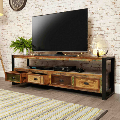 Opened drawer view of The Urban Chic Industrial Reclaimed Wood Extra Large Television Stand with Storage
