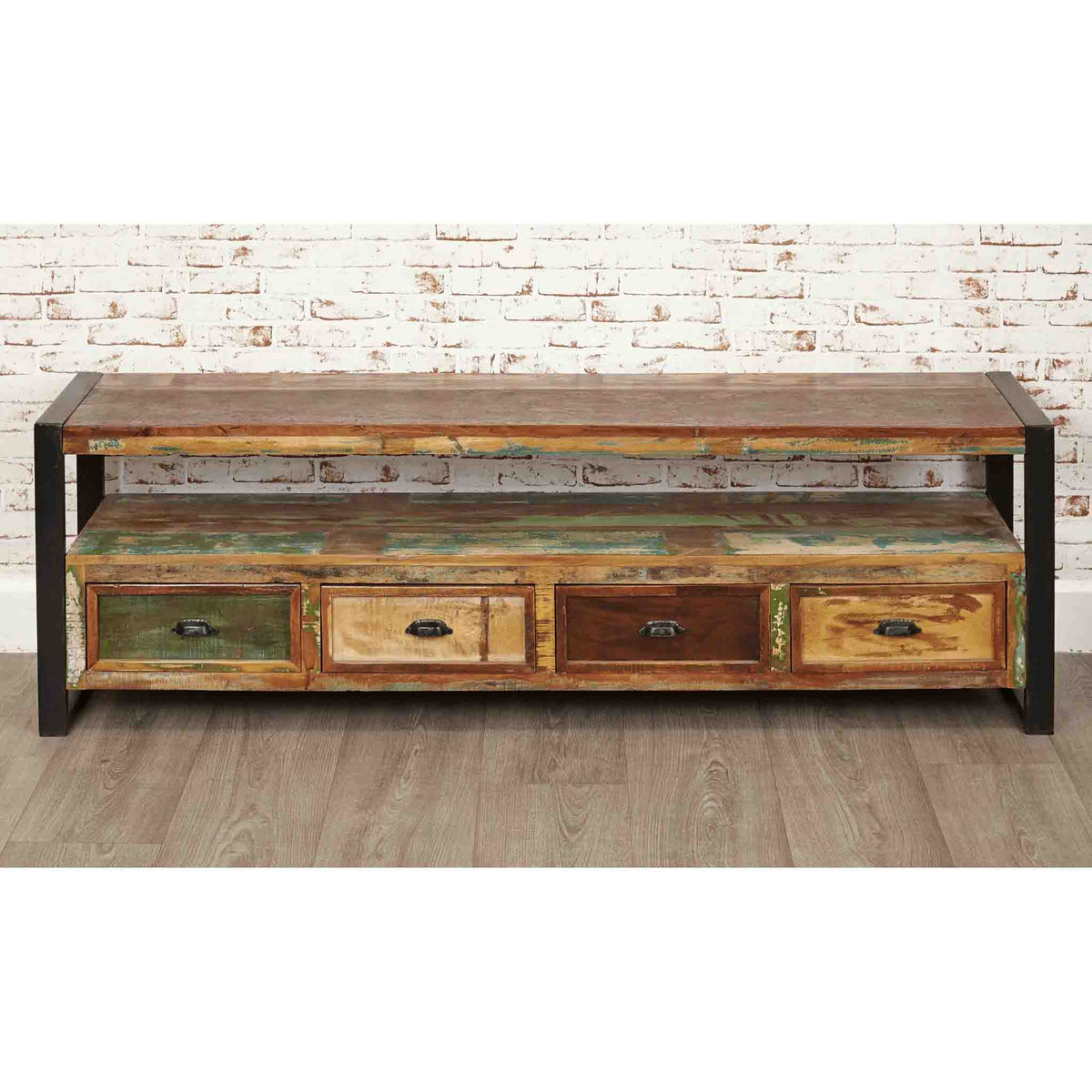 The Urban Chic Industrial Reclaimed Wood Extra Large TV Cabinet with Steel Frame
