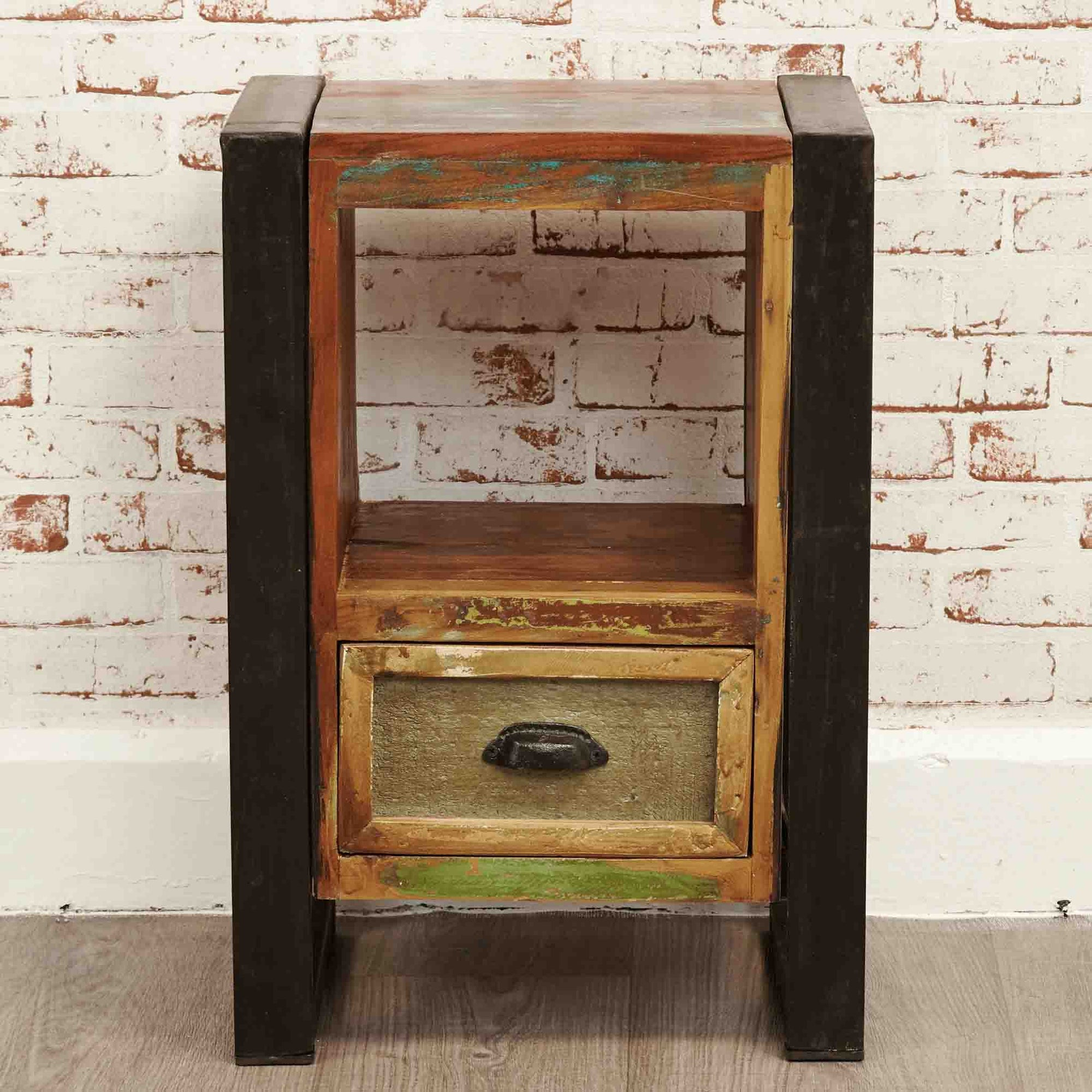 The Urban Chic Industrial Reclaimed Wood Bedside Table from Roseland Furniture