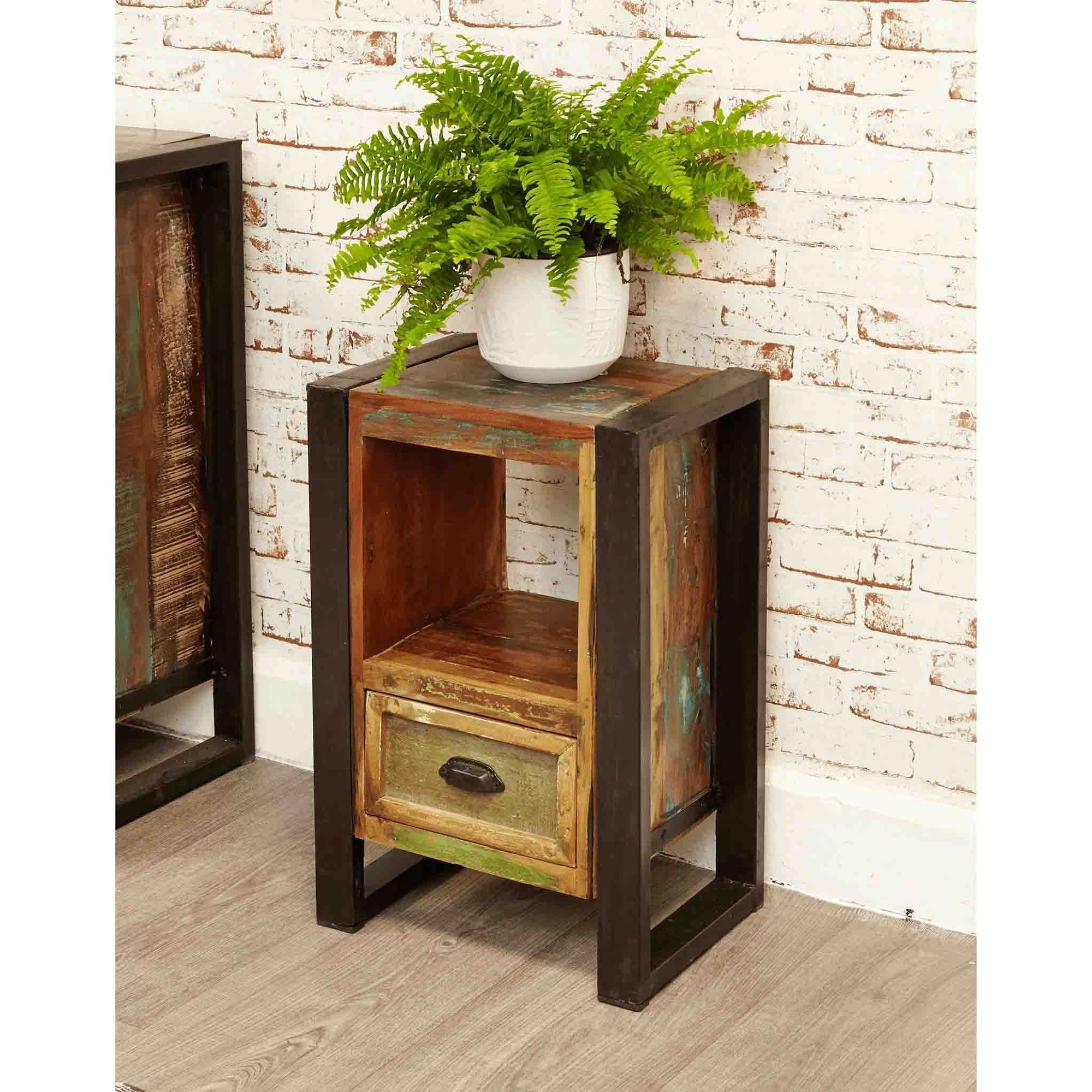 Picture of: Steel Reclaimed Wood Lamp Bedside Cabinet With Drawer Urban Chic Roseland Furniture
