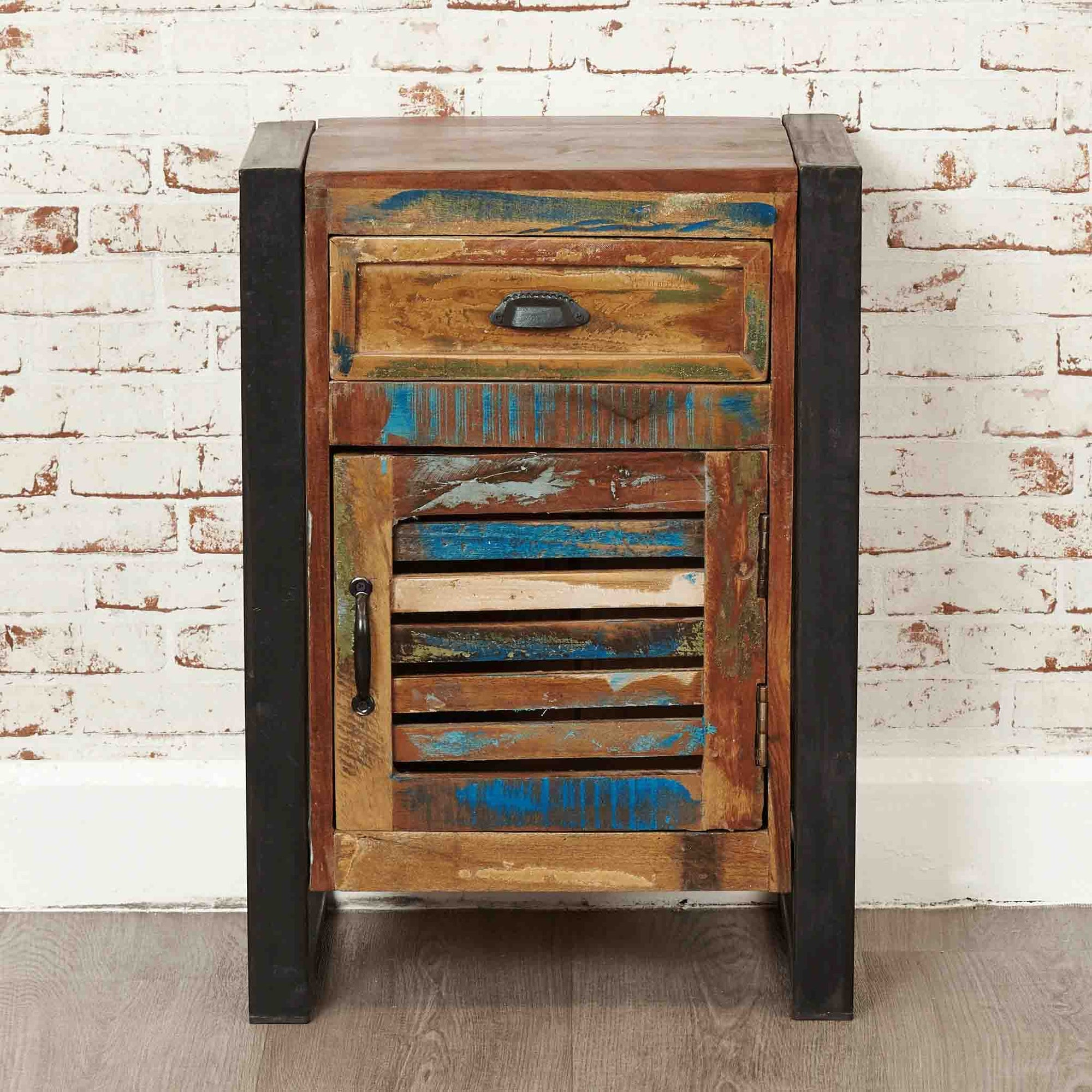 The Urban Chic Industrial Reclaimed Wood Side Lamp Table from Roseland Furniture