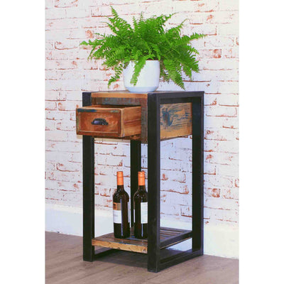 The Urban Chic Industrial Reclaimed Wood Plant Table with Drawer from Roseland Furniture
