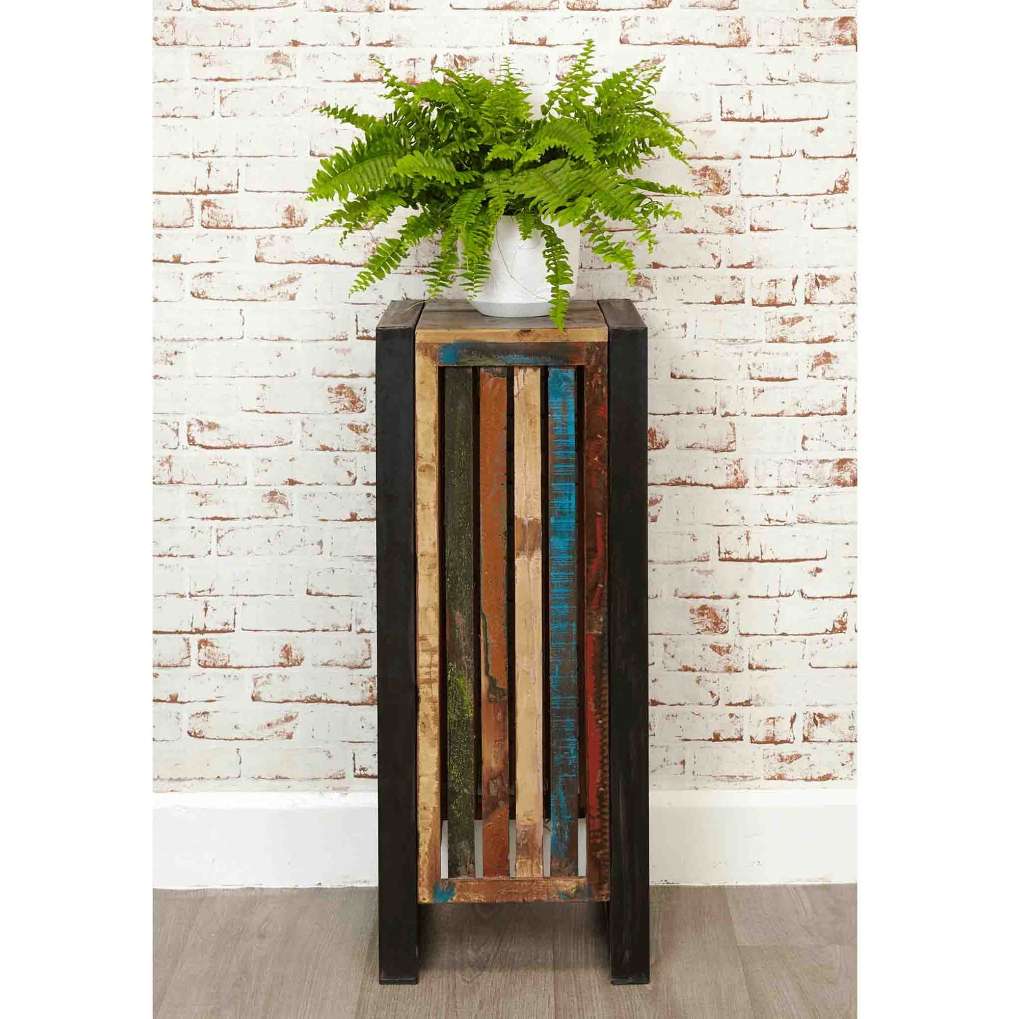 The Urban Chic Industrial Reclaimed Wood Plant Stand from Roseland Furniture