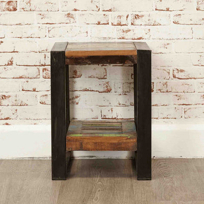 The Urban Chic Industrial Reclaimed Wood Small Side Table from Roseland Furniture