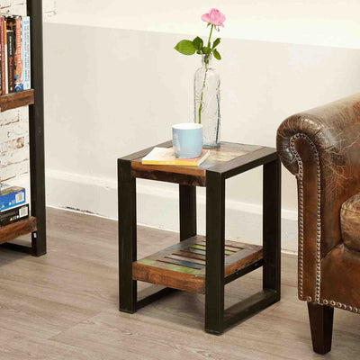 The Urban Chic Industrial Reclaimed Wood Low Side Table from Roseland Furniture