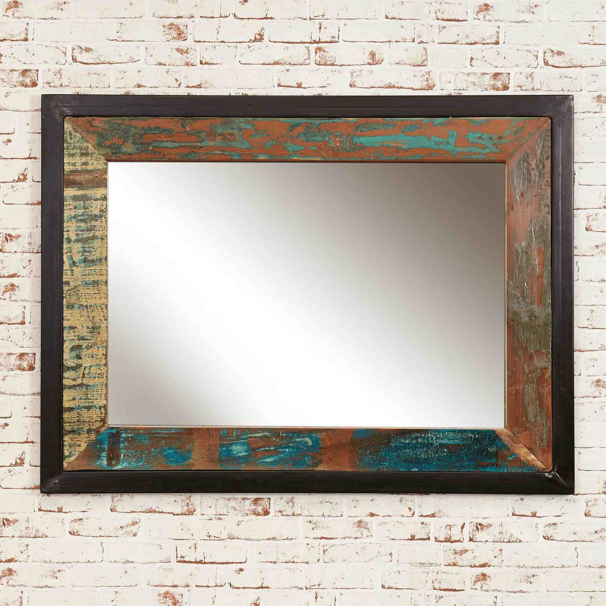 The Urban Chic Large Industrial Reclaimed Wood Mirror from Roseland Furniture