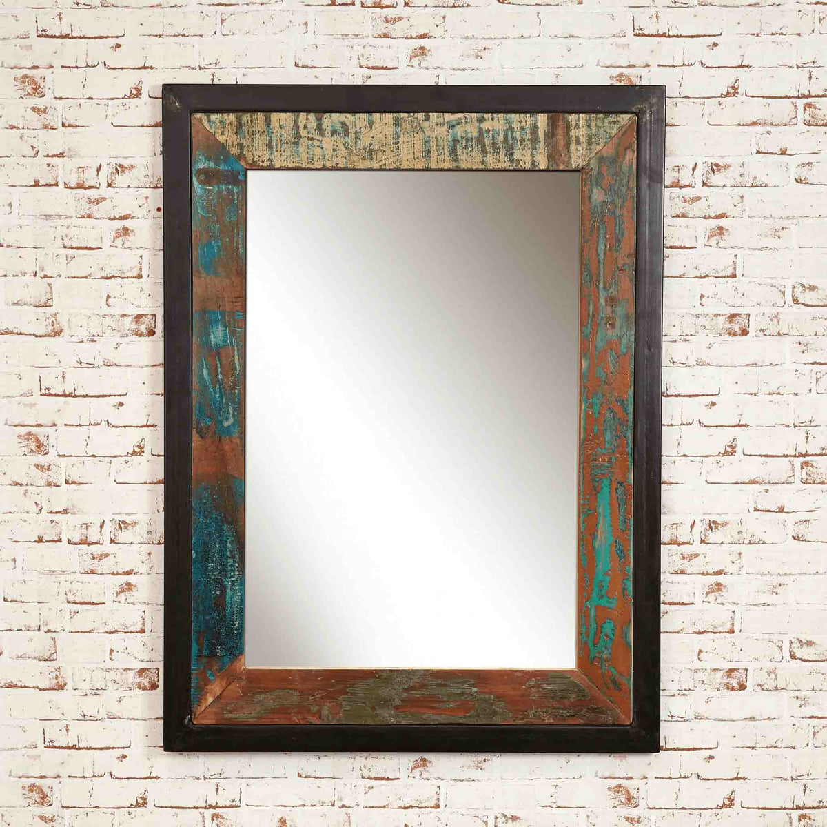 The Urban Chic Large Industrial Reclaimed Wood Mirror with Steel Frame
