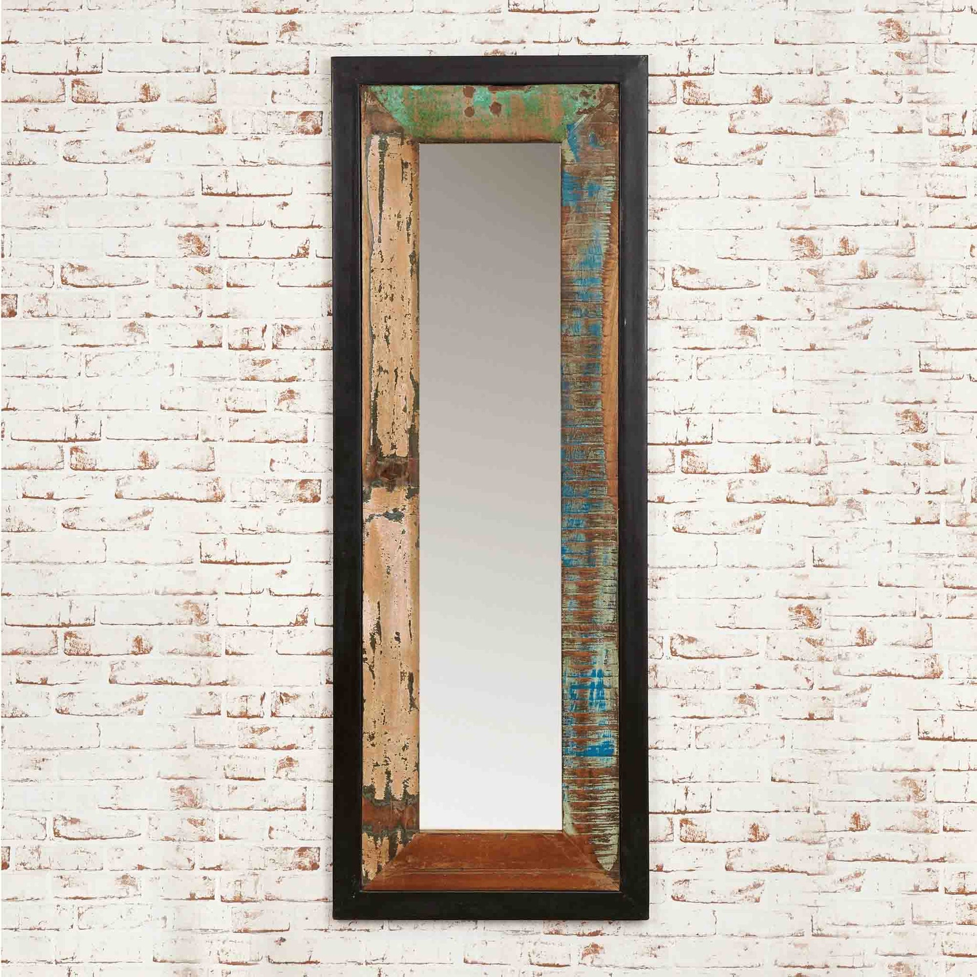 The Urban Chic Industrial Reclaimed Wood Long Mirror from Roseland Furniture