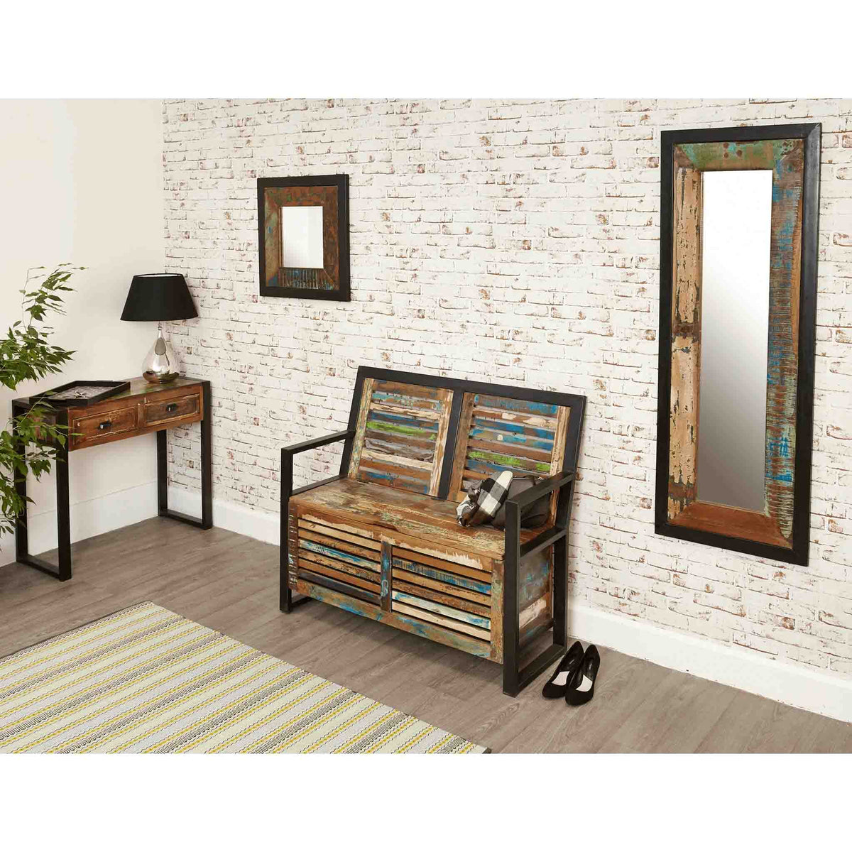 Lifestyle image with The Urban Chic Industrial Reclaimed Wood Long Mirror