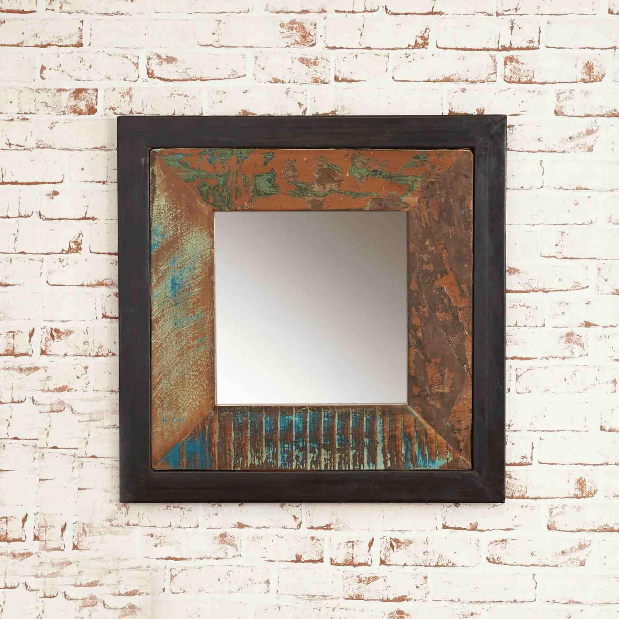 The Urban Chic Industrial Reclaimed Wood Small Square Mirror from Roseland Furniture