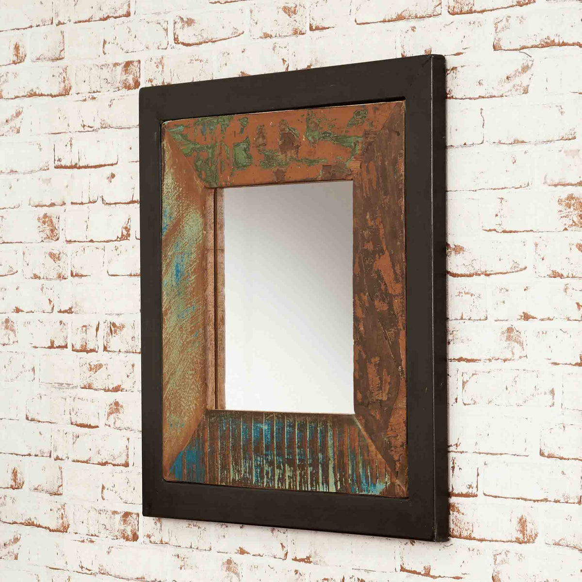The Urban Chic Industrial Reclaimed Wood Small Square Mirror with Steel Frame