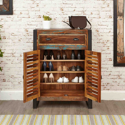 The Urban Chic Industrial Reclaimed Wood Shoe Storage Cabinet from Roseland Furniture