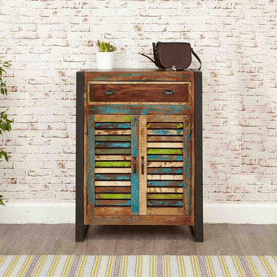 The Urban Chic Industrial Reclaimed Wood Shoe Storage Cupboard from Roseland Furniture
