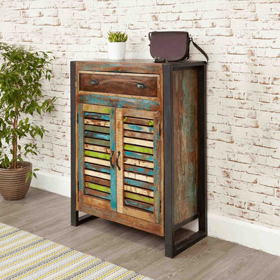 Side view of The Urban Chic Industrial Reclaimed Wood Large Shoe Rack from Roseland Furniture