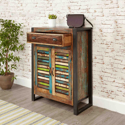 Open Drawer view of The Urban Chic Industrial Reclaimed Wood Shoe Storage Cabinet