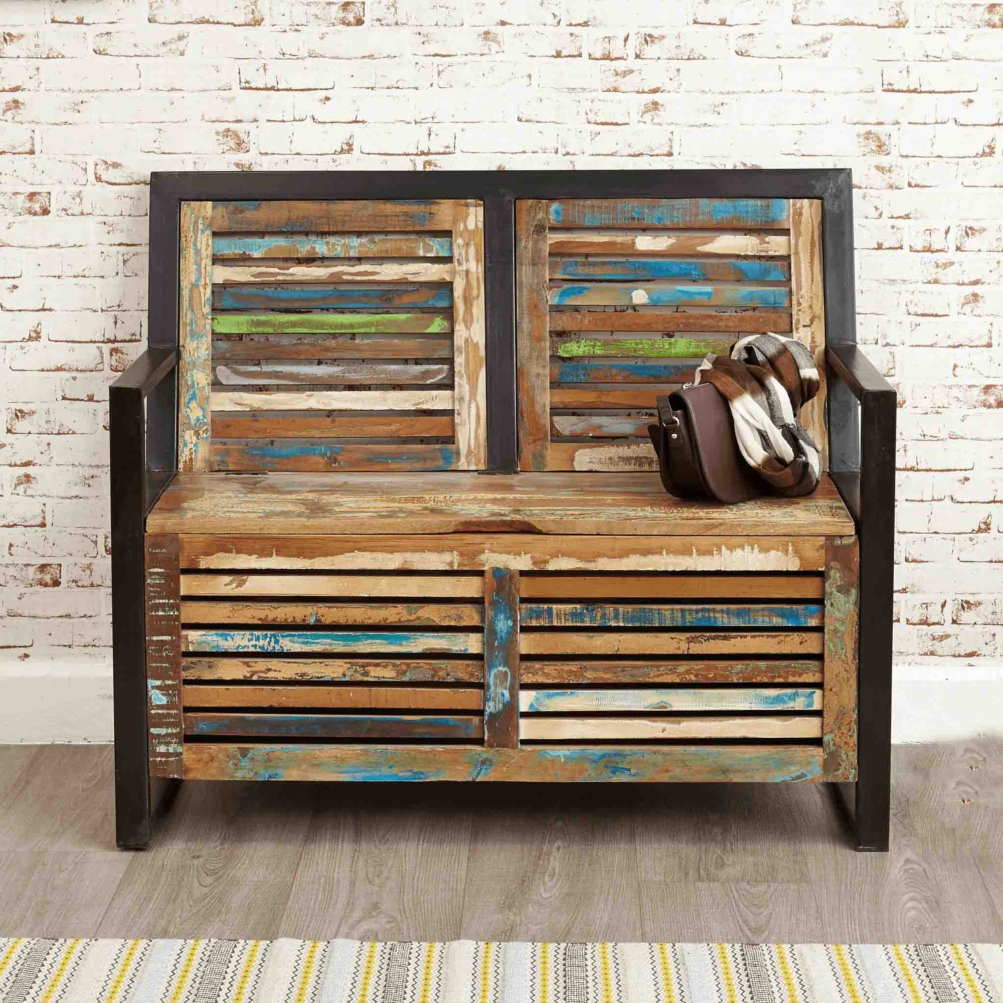 The Urban Chic Industrial Reclaimed Wood Monks Storage Bench from Roseland Furniture
