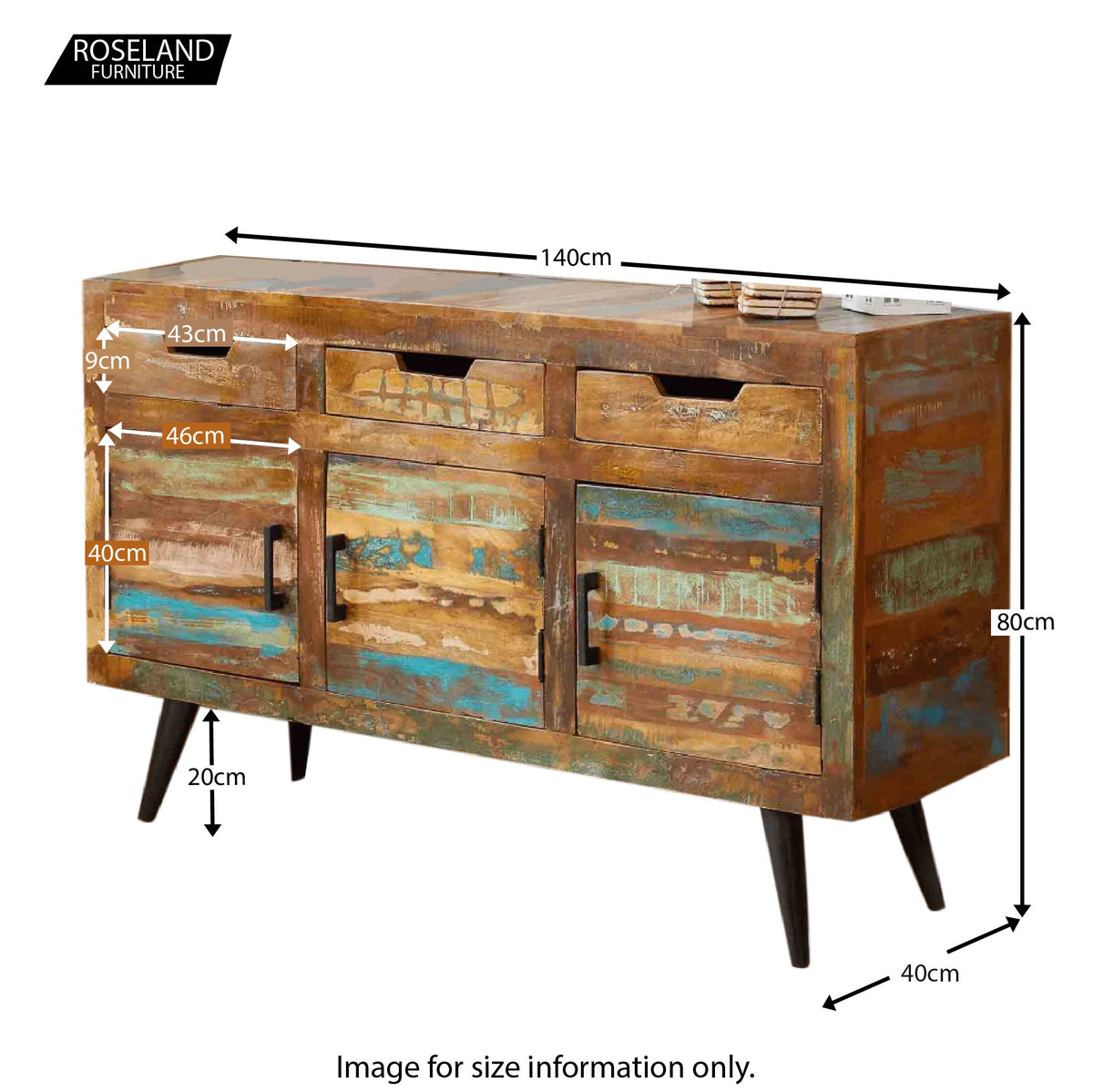 Coastal Chic Large Sideboard - Size Guide