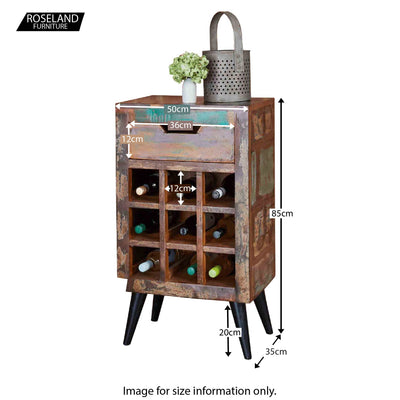 Coastal Chic Wine Rack / Lamp Table - Size Guide