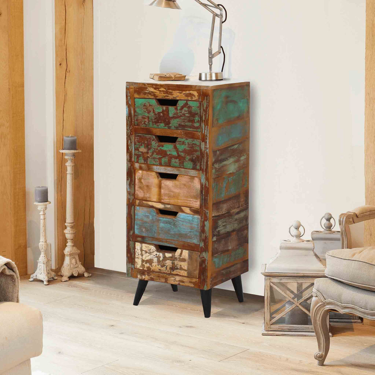 Coastal Chic 5 Drawer Tallboy by Roseland Furniture