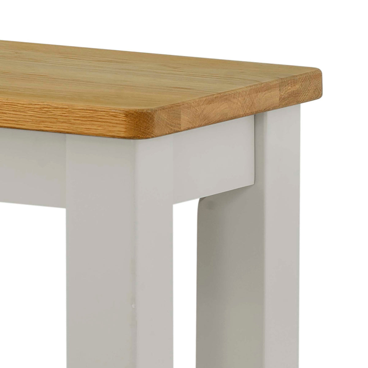 The Padstow Grey Indoor Dining Bench - Close Up of Oak Top