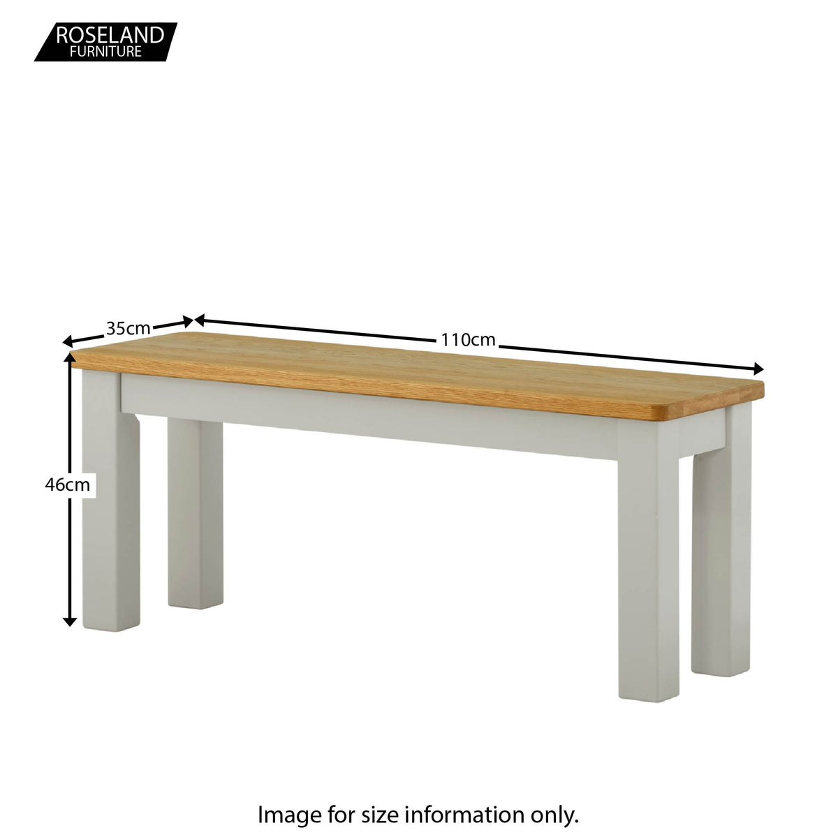 The Padstow Grey Indoor Dining Bench - Size Guide