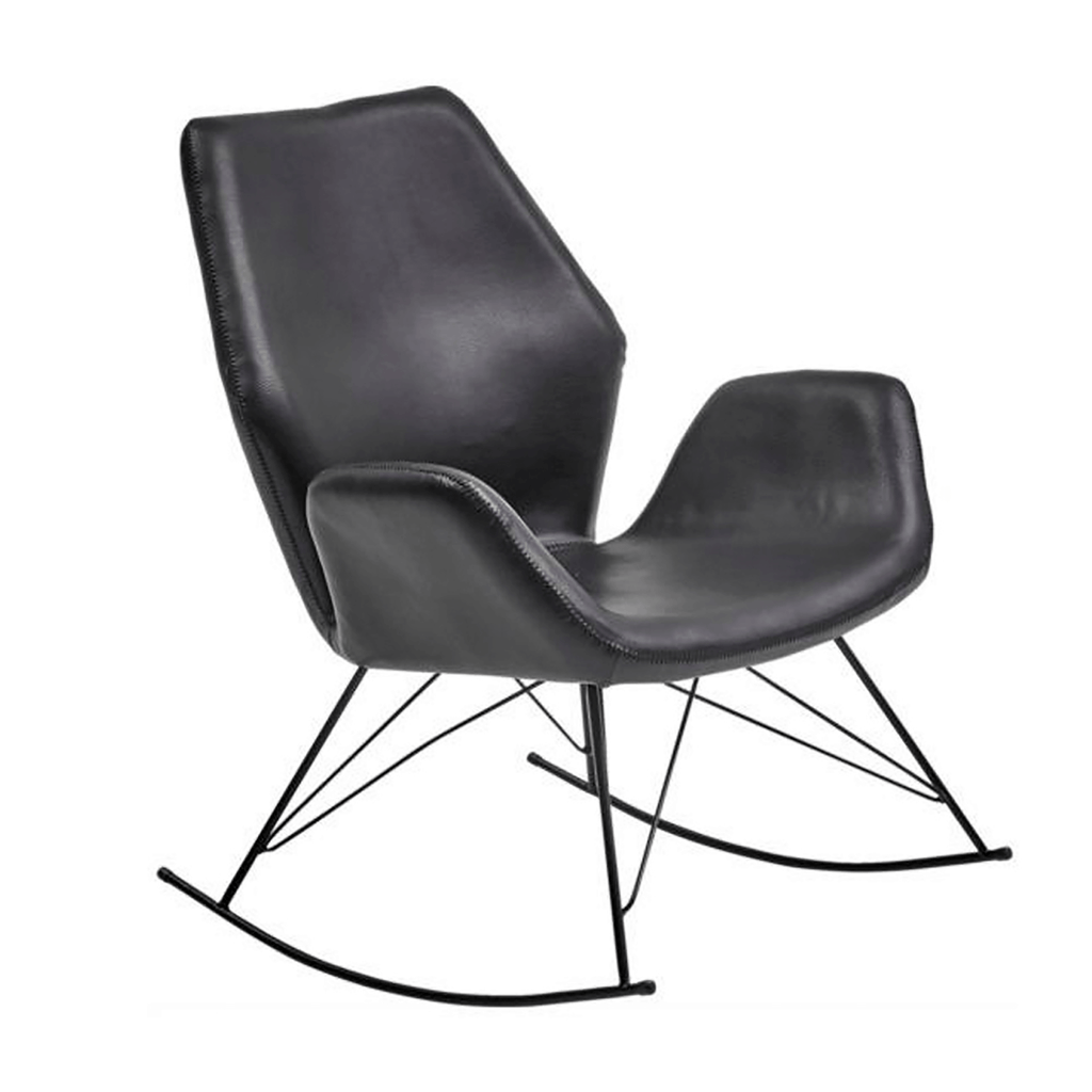 Bryce Black Leather Accent Rocking Chair Roseland Furniture