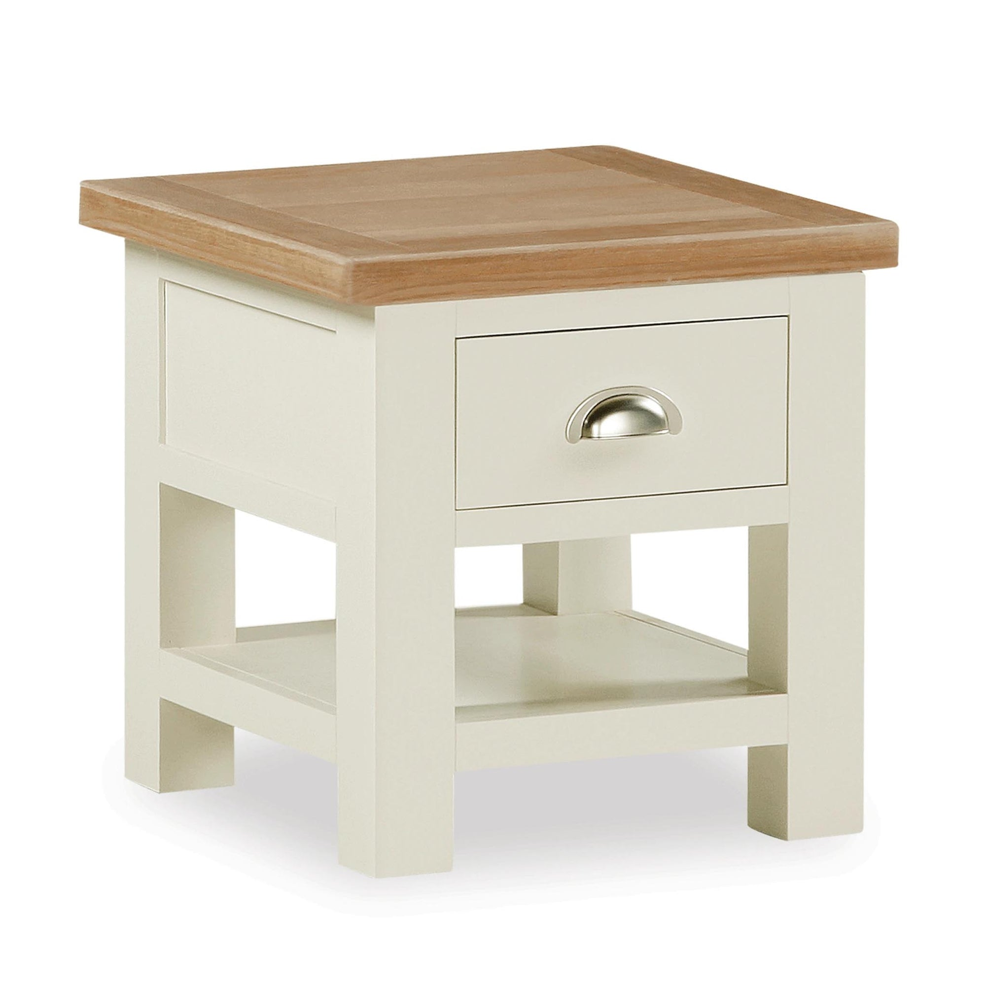 The Daymer Cream Painted Oak Side Lamp Table from Roseland Furniture