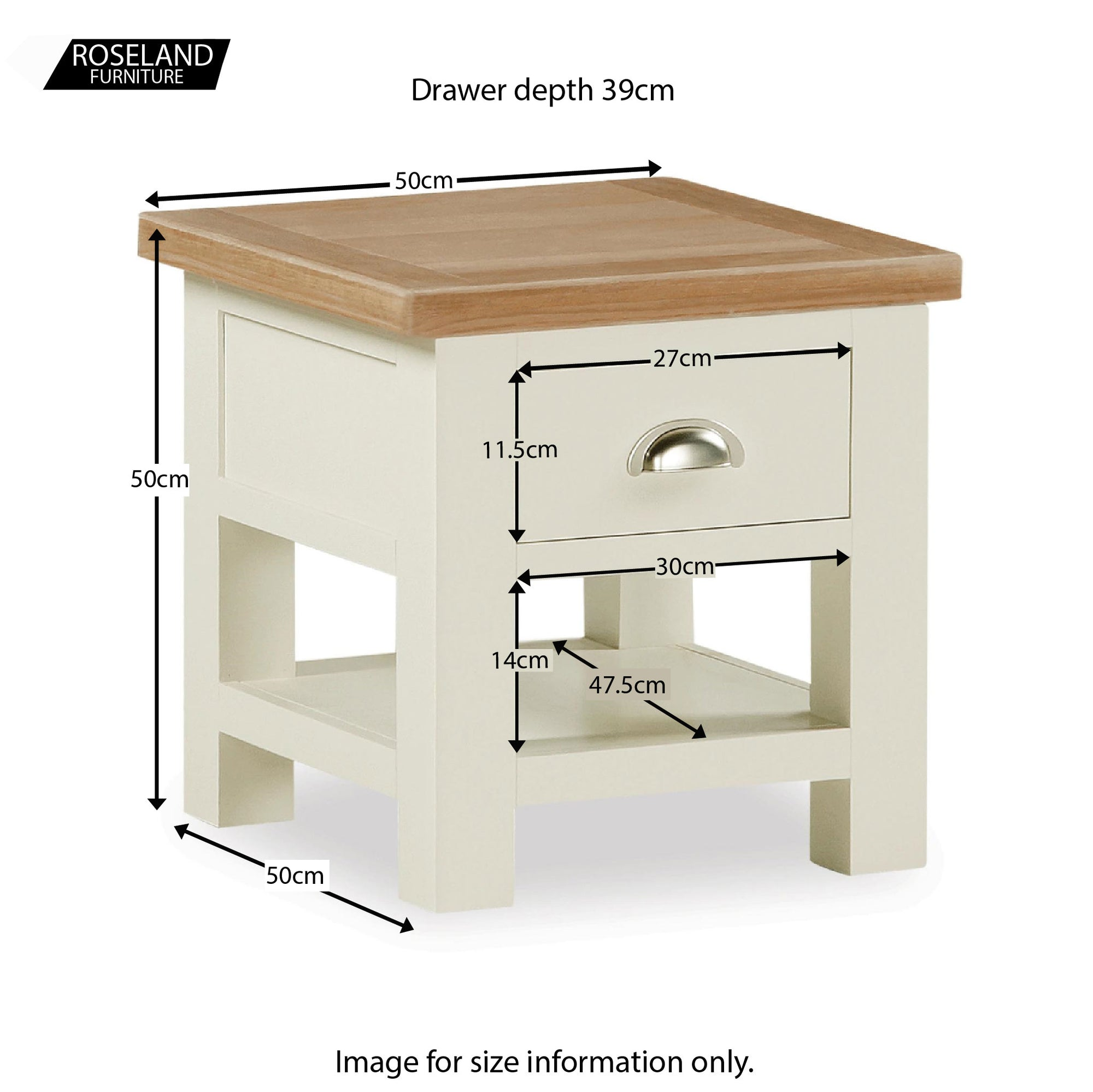 Daymer Cream Painted Side Lamp Table With Storage Drawer Roseland Furniture