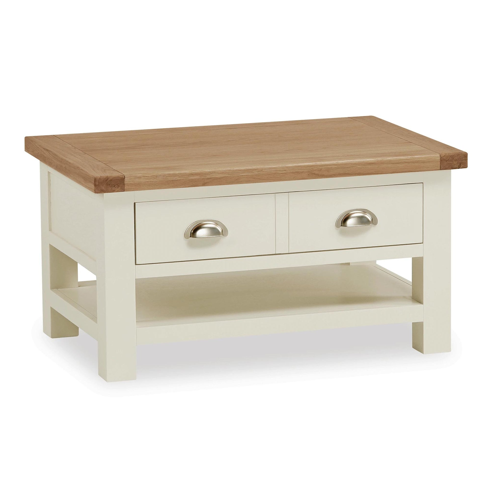 The Daymer Cream Painted Small Coffee Table with Storage Drawer from Roseland Furniture