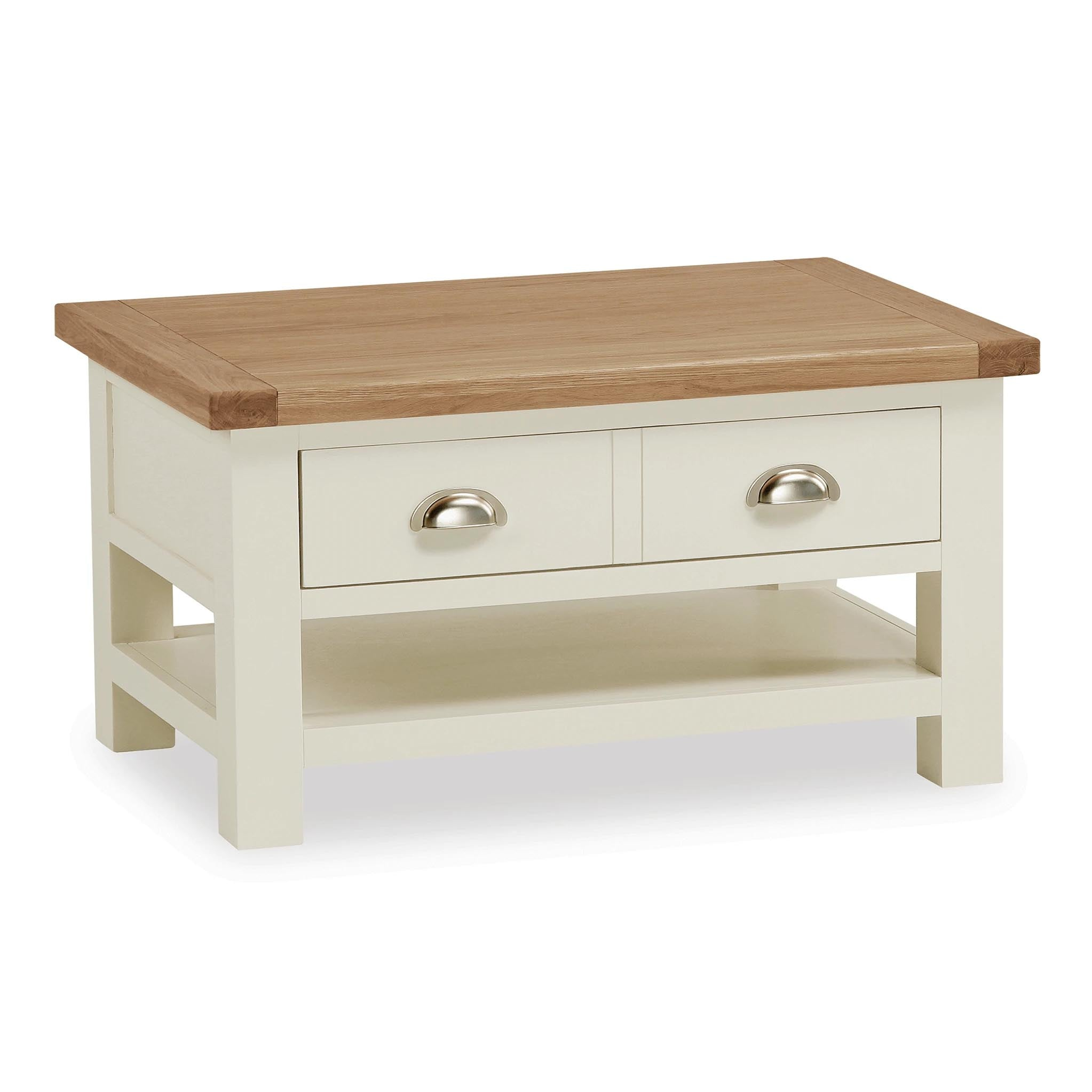 - Daymer Cream Painted Small Coffee Table With Drawers Oak