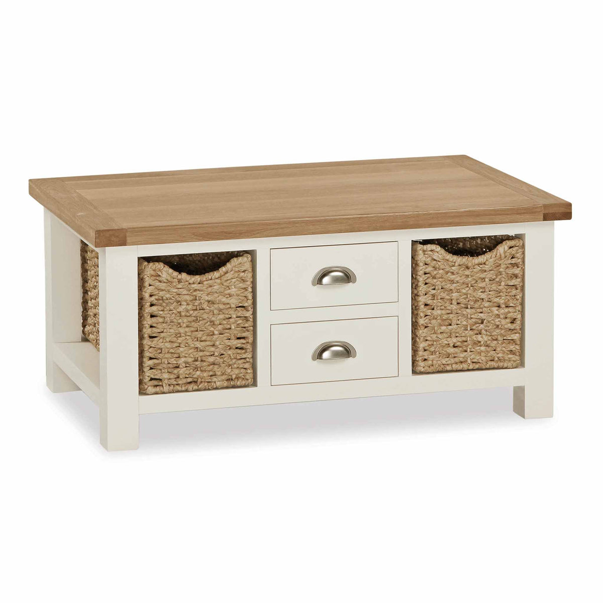 The Daymer Cream Large Coffee Table with Storage Baskets and 2 Drawers from Roseland Furniture