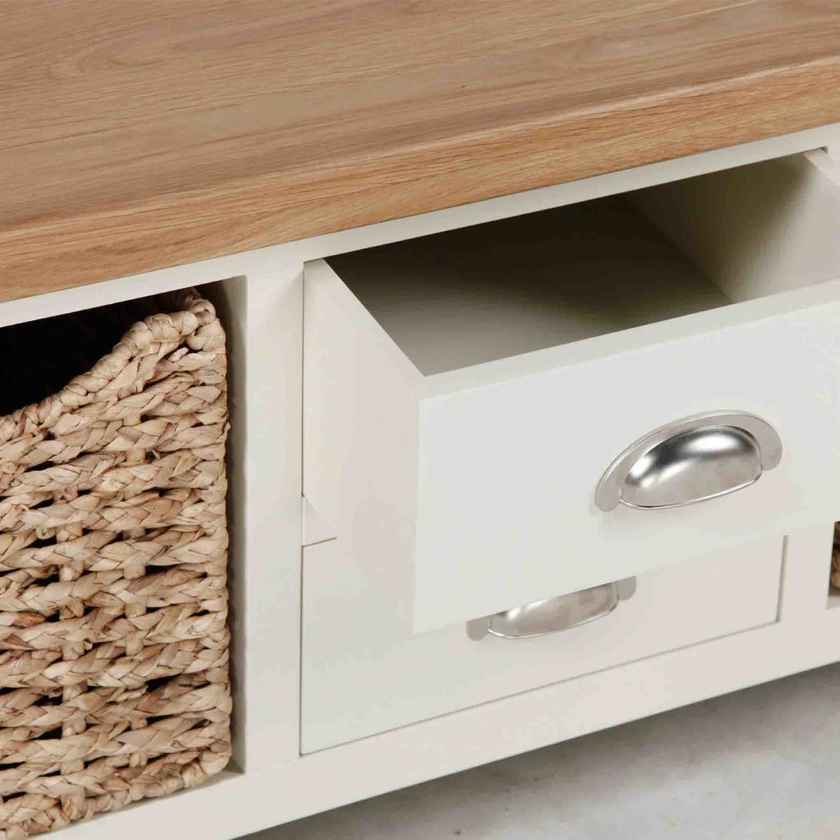 Close up of open drawer on The Daymer Cream Large Coffee Table with Storage