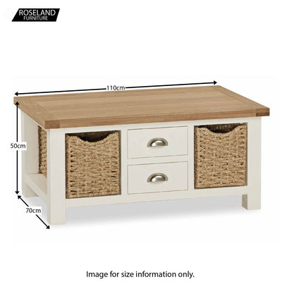 Daymer Cream Large Coffee Table with Baskets and Drawers - Size Guide