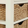 Close up of storage baskets of The Daymer Cream Painted Oak Console Table