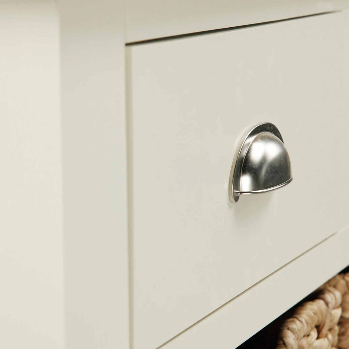 Close up of drawer on The Daymer Cream Painted Oak Console Table
