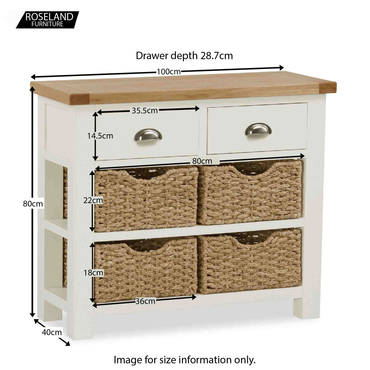 Daymer Cream Console Table with Drawers and Baskets - Size Guide
