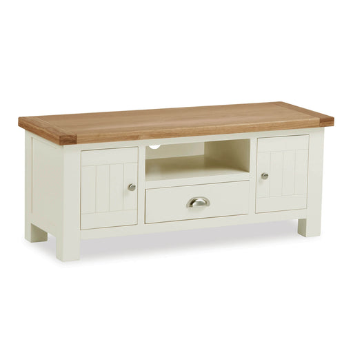 The Daymer Large Cream Painted 120cm TV Stand Storage Unit from Roseland Furniture