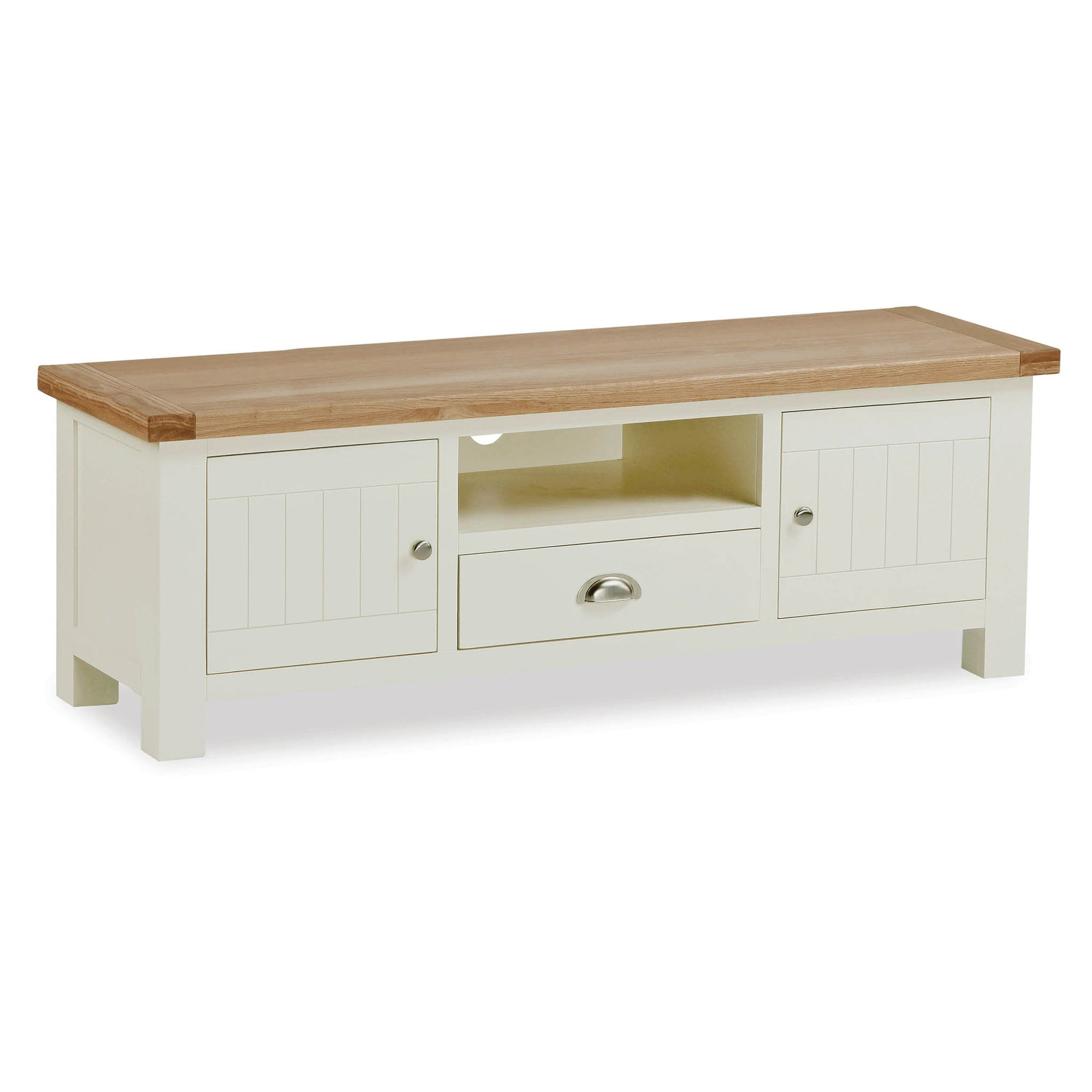 The Daymer Cream Painted 150cm Large TV Stand Storage Unit by Roseland Furniture