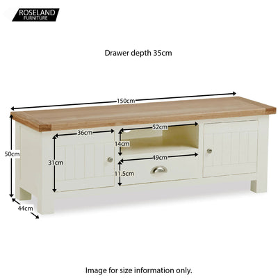 Daymer Cream Large TV Stand Unit - Size Guide