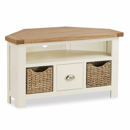 The Daymer Cream Painted Corner TV Stand Storage Unit with Baskets from Roseland Furniture